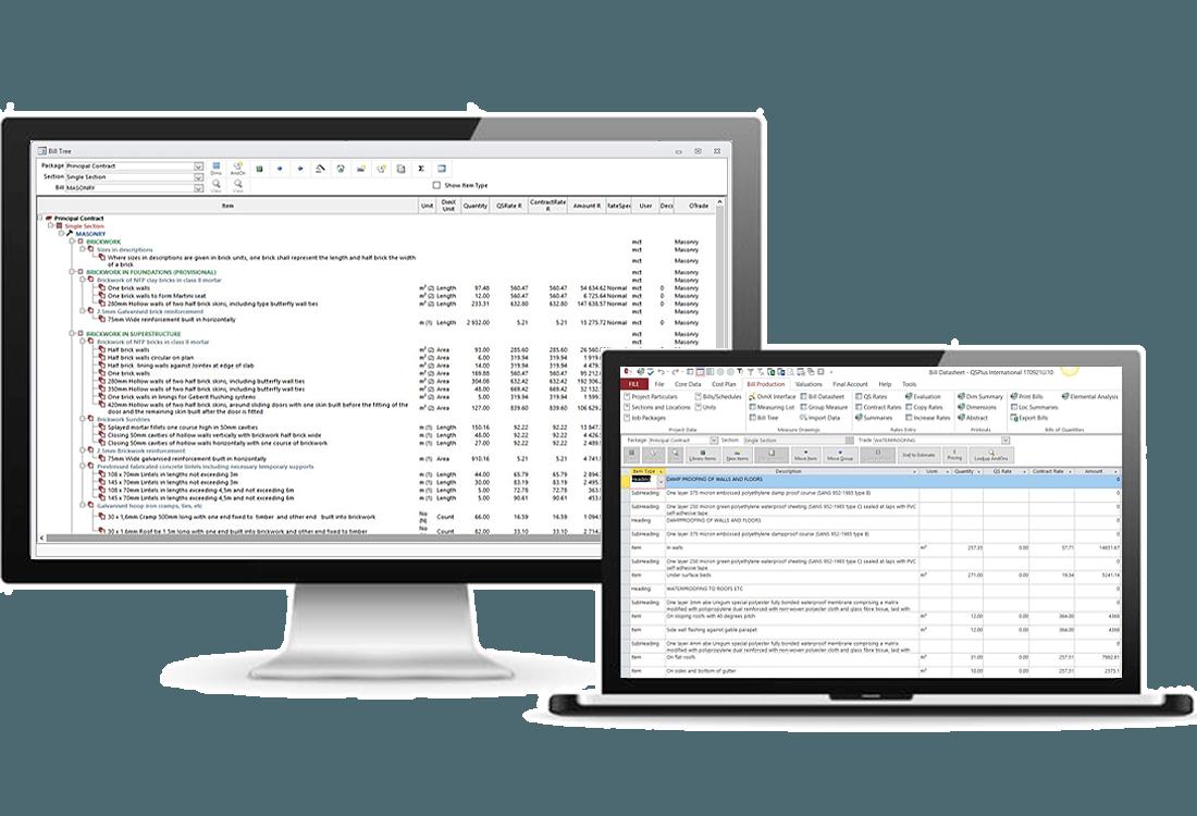 QSPlus International - Bills of Quantities - Data tree or data sheet